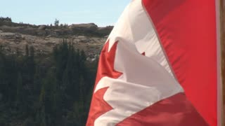 Maple Leaf On Canadian Flag Waving