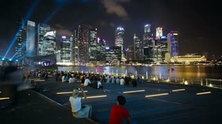 Marina Bay City light display, Singapore river and City Skyline, South East Asia, Time lapse