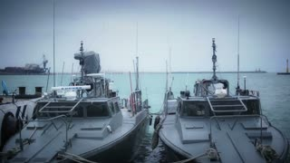 Marine ships in military harbor in Veracruz, Mexico
