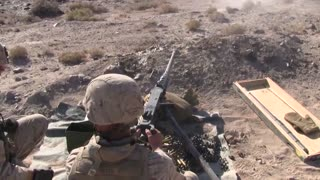 Marines fire M2 .50 Caliber Machine Gun