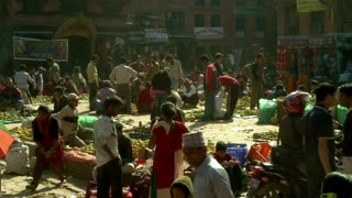 Market in Village Square in Nepal