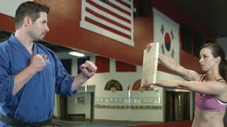 Martial Arts Instructor Breaking Piece of Wood