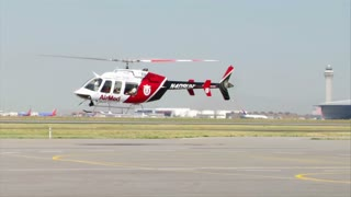 Medical Helicopter Hovers At Airport