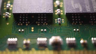Memory circuit board macro dolly shot