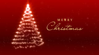 Merry Christmas Message with Tree of Lights