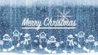 Merry Christmas Title Background. Snow Men And Winter Snow. Frozen Holidays
