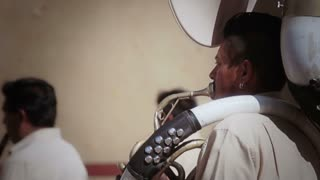 Mexican musician playing trombone