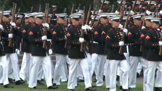 Military Unit Marching in Arlington National Cemetery 2