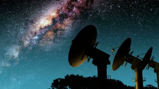 Milky Way Galaxy Night Timelapse Passes Giant Satellite Dish. Elements of this image furnished by NASA