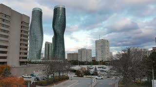 Mississauga City Centre Absolute Time Lapse. Mississauga City Centre area, looking west towards the Absolute World skyscrapers. Shot in time lapse on a gloomy autumn October day.