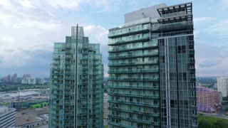 Mississauga Condominium Sunset Cityscape Timelapse. Time Lapse of urban residential buildings in downtown Mississauga, Canada. Day to night sunset time lapse.