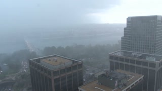 Mist and Fog Moving Next to Buildings During DC Severe Storm