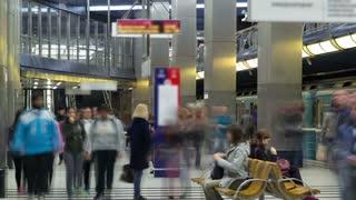 modern subway station. Metro vistavochnaya timelapse, Moscow, Russia 4K