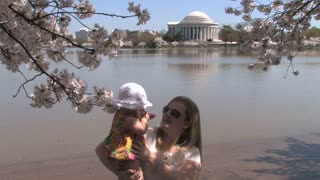 Mom and Baby at the Jefferson Memorial and Tidal Basin