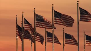 Monument Flags At Sunset 2