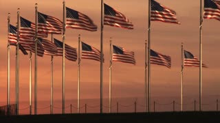 Monument Flags At Sunset 4
