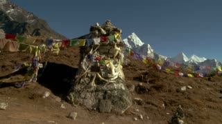 Monument with Buddhist Prayer Flags in Himalayas