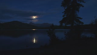 Moon Reflecting Off Lake At Night