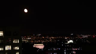 Moonrise Over DC Memorial Nightscape Time Lapse