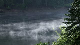 Morning Mist Moving Over River