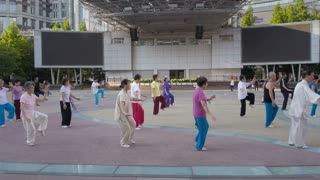 Morning Tai Chi Group Outside in Shanghai