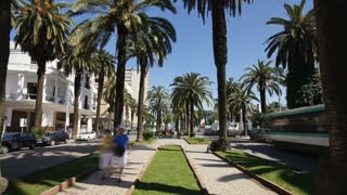 Morocco, Maghreb, Casablanca. The Boulevard de Rachidi is typical of the wide tree lined streets in the smart Lusitania district, T/Lapse