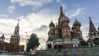 Moscow Kremlin, Red square and Saint Basil's cathedral 4K evening pan hyperlapse