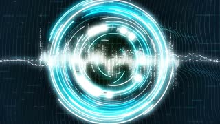 Motion loopable graphics with blue rotating circles on sci-fi background. 4k