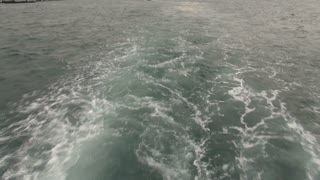 Motorboat Wake on the Sea