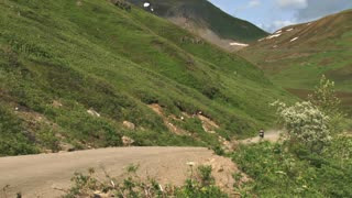 Motorcycle Touring Enduro On Hatcher Pass Dirt Road