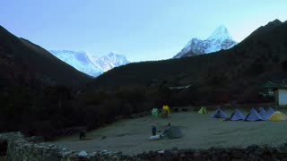 Mountain Climbers Prepare in the Morning