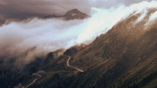 mountain road nature. time lapse. beautiful landscape. alps rocks