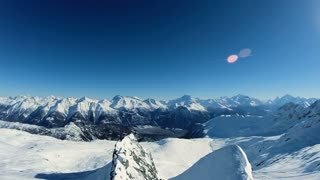 mountains peak. snow winter landscape. aerial view. fly over