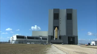 Moving Space Rocket Out Of VAB Launch Bay