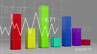 Multi Color Chart Bar Statistic 3D Loop 4K