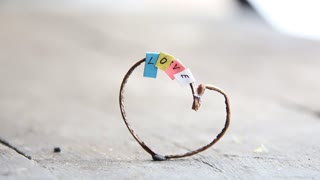 multicolored letters and heart, Valentines day idea, word love