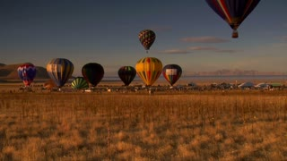Multiple Hot-air Balloons Liftoff
