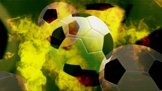 Multiple Soccerballs On Fire