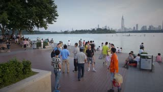 Nanjing Skyline Across Park and Lake