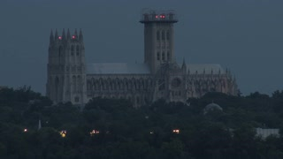 National Cathedral Towering in Dark Sky