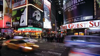 Neon lights of 42nd Street, Times Square, Manhattan, New York City, New York, United States of America, North America, Time-lapse