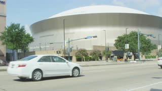New Orleans Superdome From The Bright, Sunny Street