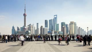 New Pudong skyline, looking across the Huangpu River from the Bund, Shanghai, China - T/lapse