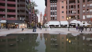 New shopping center and apartments in the wealthy area of Gueliz in Marrakesh, Morocco, North Africa, T/Lapse