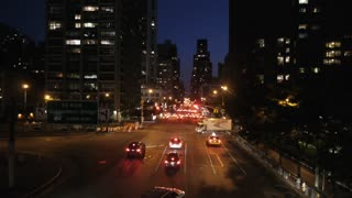 new york at night traffic aerial view tracking shot