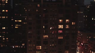 new york at night traffic street aerial view tracking shot