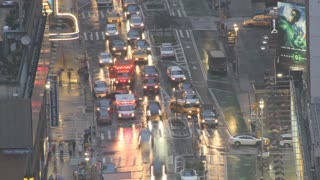 New York City Intersection in Rain Timelapse 4