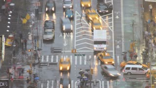 New York City Intersection in Rain Timelapse 5