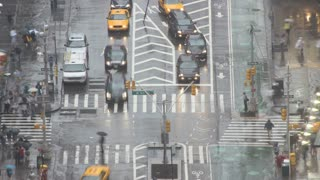 New York City Intersection in Rain Timelapse