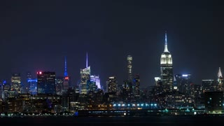 New York City Manhattan Skyline Night Timelapse